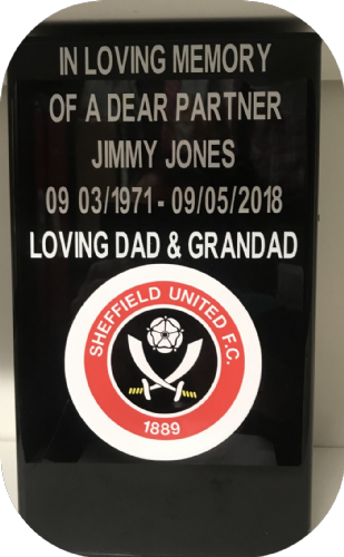 Sheffield United F. C. Square grave flower pot.
